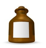 Brown bottle with blank label Stock Photo
