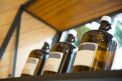 Brown bottle on the Shelves Stock Images