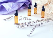 Brown bottles of essential oil with dry lavender Royalty Free Stock Images