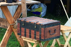 Brown bound wooden chest Royalty Free Stock Images