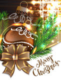 Brown bow and Christmas bauble Stock Image