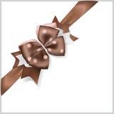 Brown bow with diagonally ribbon Royalty Free Stock Photos