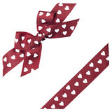 Brown bow with hearts. And ribbon Royalty Free Stock Photography