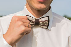 Brown bow tie close up Stock Image