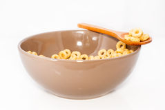 Brown bowl with cereals Royalty Free Stock Photography