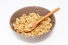 Brown bowl with cereals royalty free stock photo