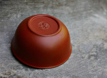 Brown bowl for chinese puer tea Royalty Free Stock Image
