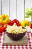 Brown bowl of macaroni Stock Photography
