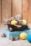 Brown bowl with quail I yellow chicken eggs. Stock Photo