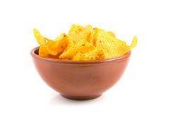 Brown bowl with tortilla chips Royalty Free Stock Image