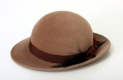 Brown Bowler/Derby hat. Isolated Royalty Free Stock Photos