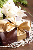 Brown box with candies Stock Image