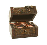 Brown box full of coins Royalty Free Stock Images
