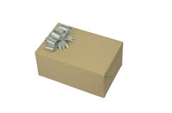 Brown box gift Royalty Free Stock Image