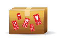 Brown Box With Icons Royalty Free Stock Photography