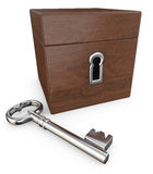 Brown box with lock and key stock image