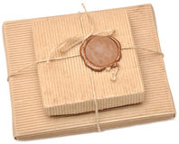 Brown box with sealing wax. On white Stock Photography