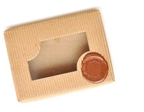 Brown box with sealing wax Stock Images