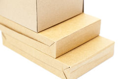 Brown boxes paper overlay. Royalty Free Stock Photo