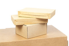Brown boxes paper overlay. Royalty Free Stock Photography