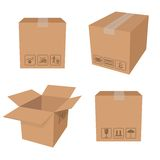 Brown boxes. Vector image of carton brown packing boxes Stock Photo