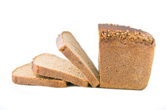 Brown bread. Natural cuting brown bread on white Stock Photo