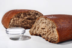 Brown Bread. It is fresh bread and salt Stock Photo