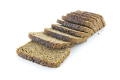 Brown bread. Three bread slices isolated over white background Stock Images