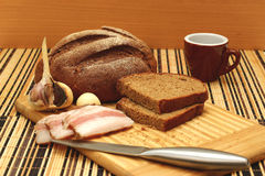 Brown bread with a bacon Royalty Free Stock Images