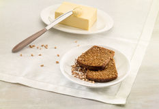 Brown bread and butter Stock Photo