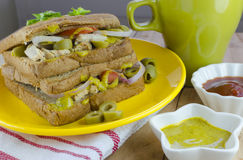 Brown bread chicken and olive sandwich Stock Photography