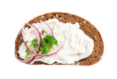 Brown bread with cream cheese Stock Photo