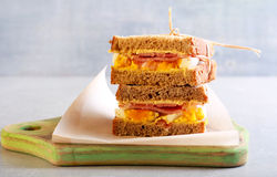 Brown bread egg, ham and onion Stock Photography