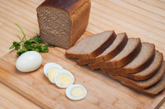 Brown bread and egg Royalty Free Stock Image