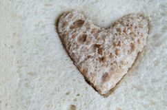 Brown Bread Heart Inside White Bread Stock Photo