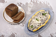 Brown bread and herring Stock Images