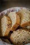 Brown bread. Homemade brown bread in a basket Stock Images