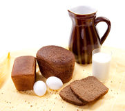 Brown bread with milk Royalty Free Stock Images