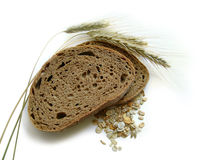 Brown bread, rye ears (spikes) and corn. Healthy, natural, diet food. Isolated royalty free stock photos