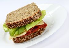 Brown bread sandwich. Sandwich made of healthy brown bread with seeds  lettuce italian salami and cheese Stock Image