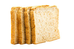 Brown bread slice on white background. Brown bread slice isolated on white background royalty free stock photos