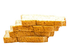 Brown bread slice on white background. Brown bread slice isolated on white background stock photo