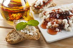 Brown Bread with Spread Stock Photo