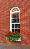 Brown brick house window and flowers Royalty Free Stock Photo