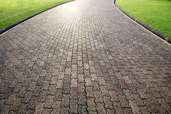 Brown Brick octagona  walkway and green grass lawn in perspective view Stock Images
