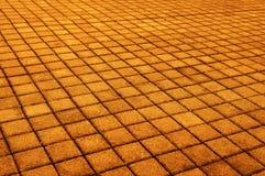 Brown brick stone street road. Light sidewalk, pavement texture. Detail Stock Photo