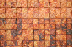 Brown brick tile background Royalty Free Stock Photo