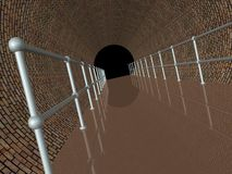 Brown brick tunnel with railing Royalty Free Stock Photo