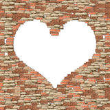 Brown brick wall heart frame Royalty Free Stock Image