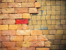 Brown brick wall patterns Royalty Free Stock Images